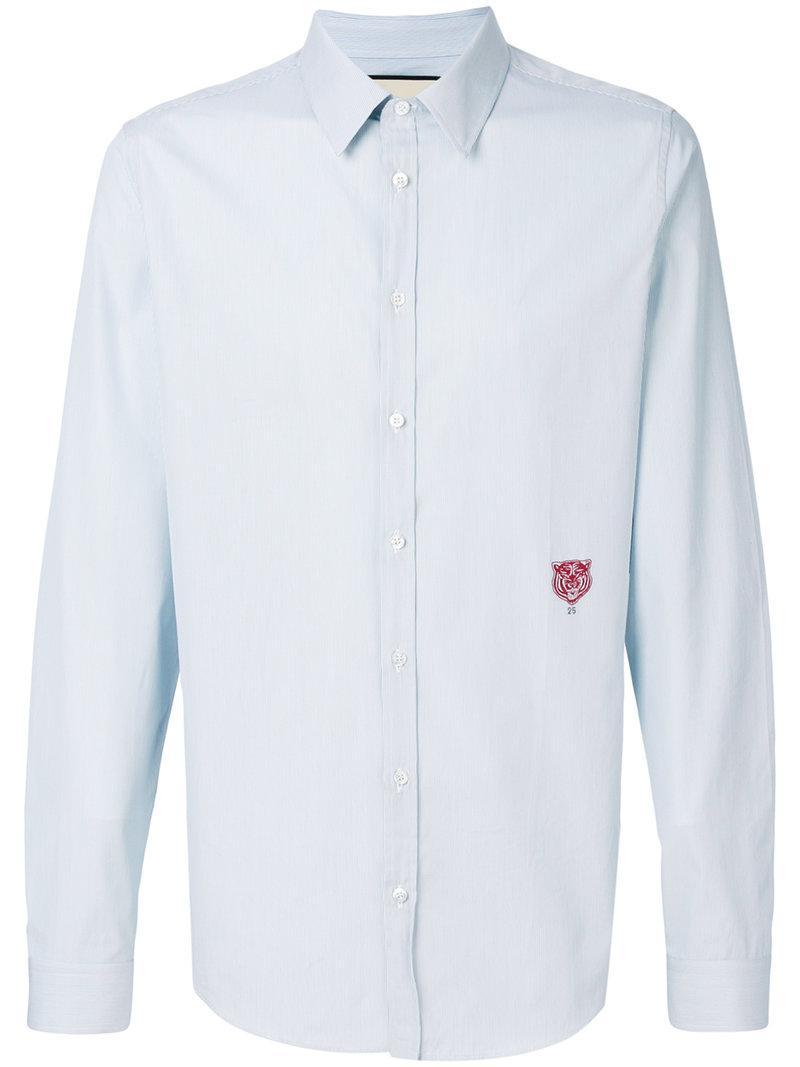 fddae8b2ed8 Lyst - Chemise à rayures à tigre brodé Gucci pour homme en coloris Bleu
