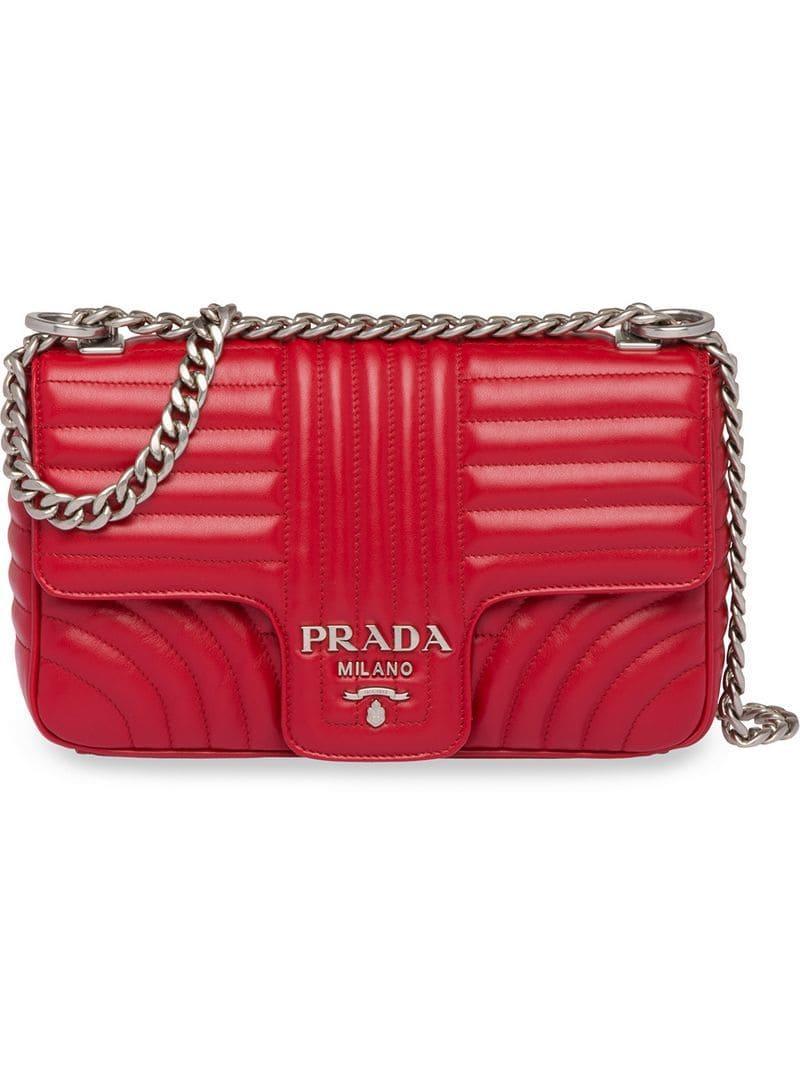 bd7cbc79c464 Prada - Red Diagramme Shoulder Bag - Lyst. View fullscreen