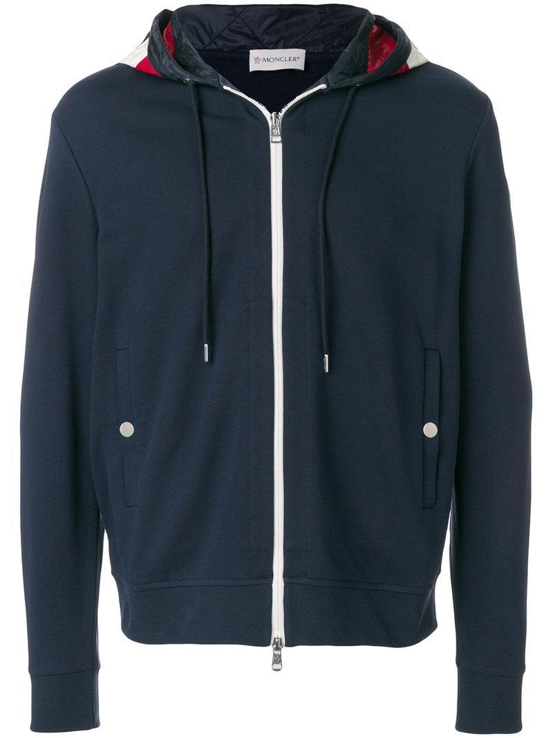 Lyst - Sweat zippé à capuche imprimée Moncler pour homme en coloris Bleu 7fe2098b928