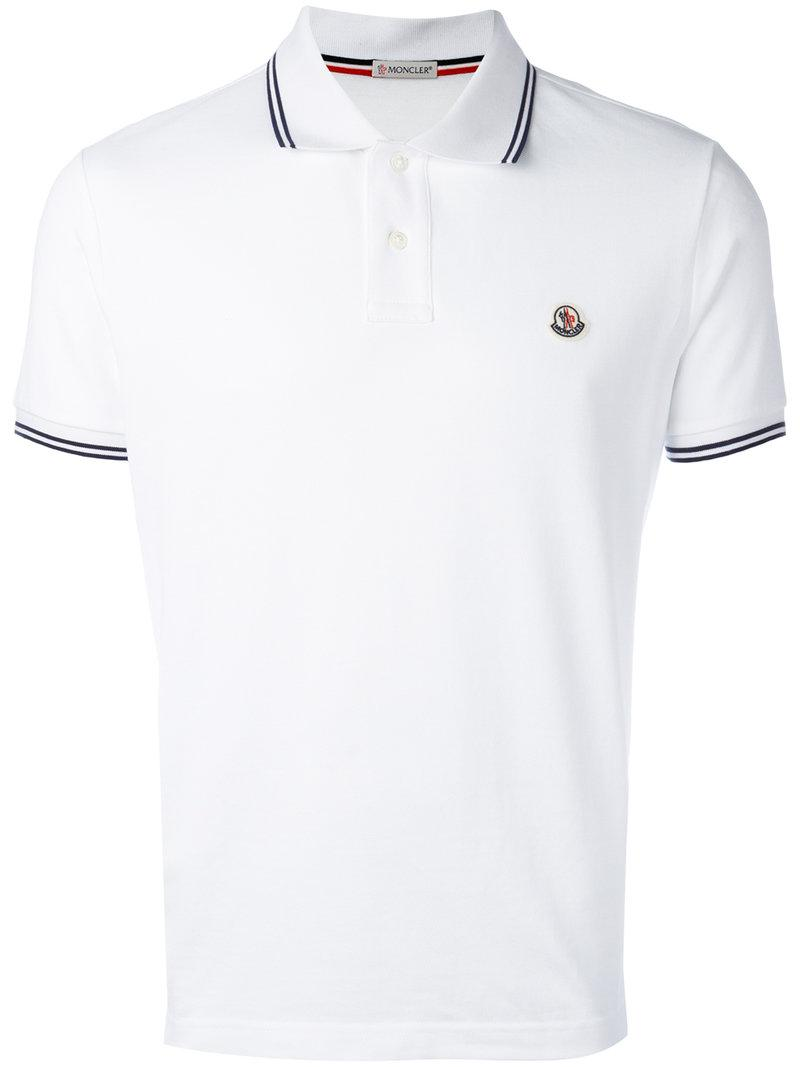 3f45a7c0ed61 Lyst - Moncler Short Sleeve Polo Shirt in White for Men