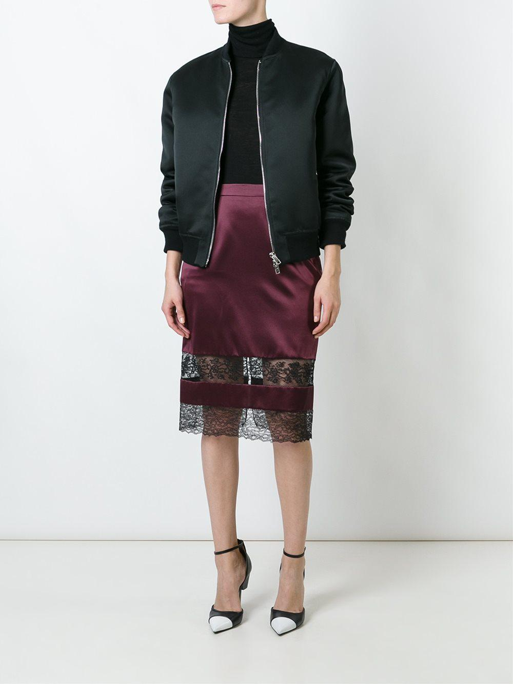 9d91d3f310 Lyst - Givenchy Lace Panel Pencil Skirt in Red