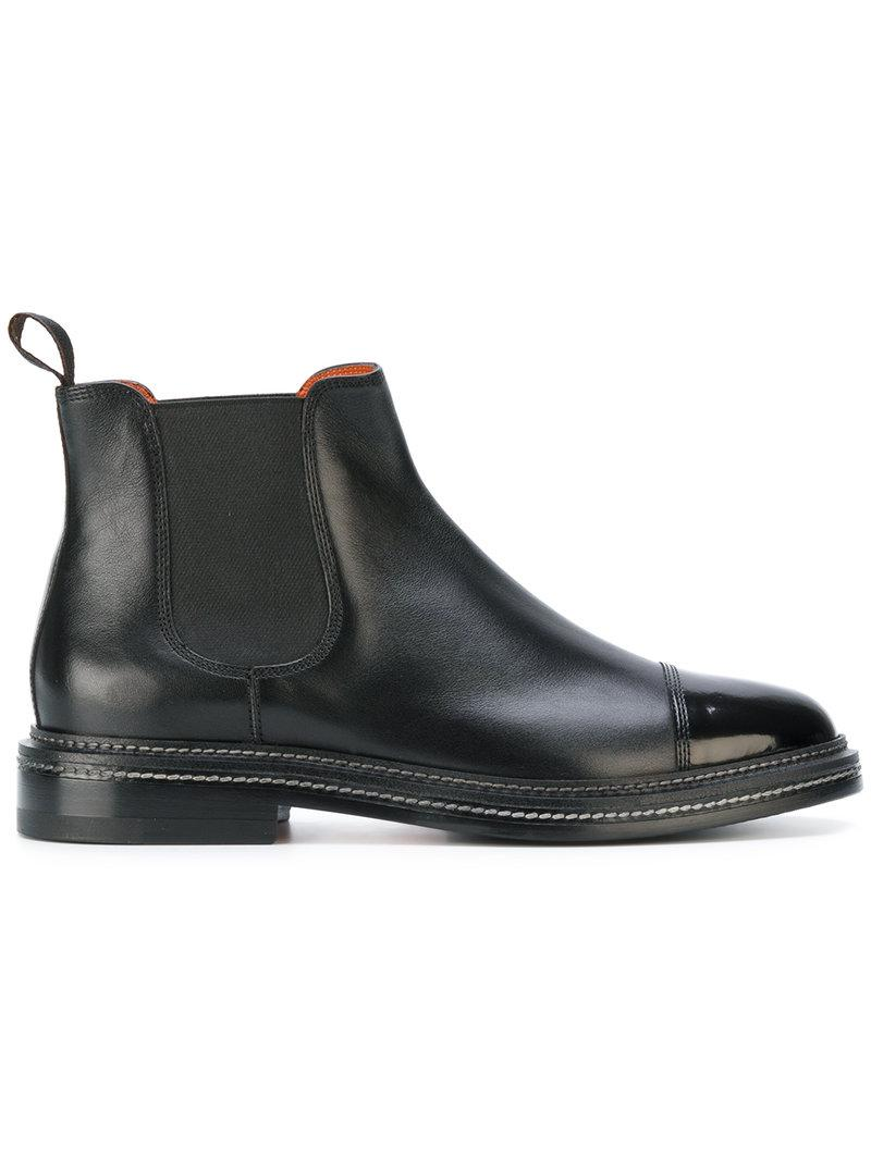 Chelsea boots 11033 leather black goodyear Santoni JDlzioemvO