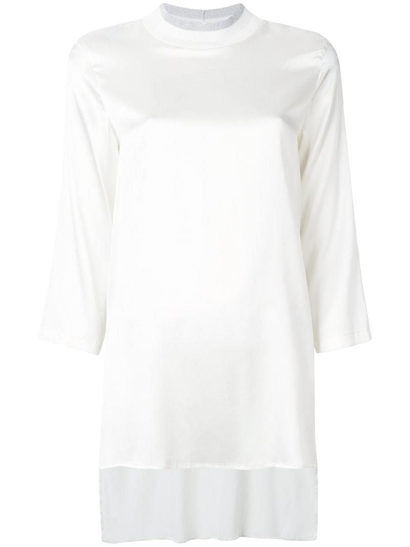 Cheap Discounts ribbed neck blouse - White Fabiana Filippi Factory Outlet For Sale Footlocker Sale Largest Supplier Outlet Big Discount 01OxJCTX