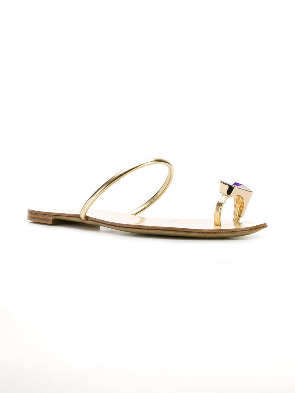 06ce1feec366 Lyst - Casadei Crystal Toe Sandals in Metallic