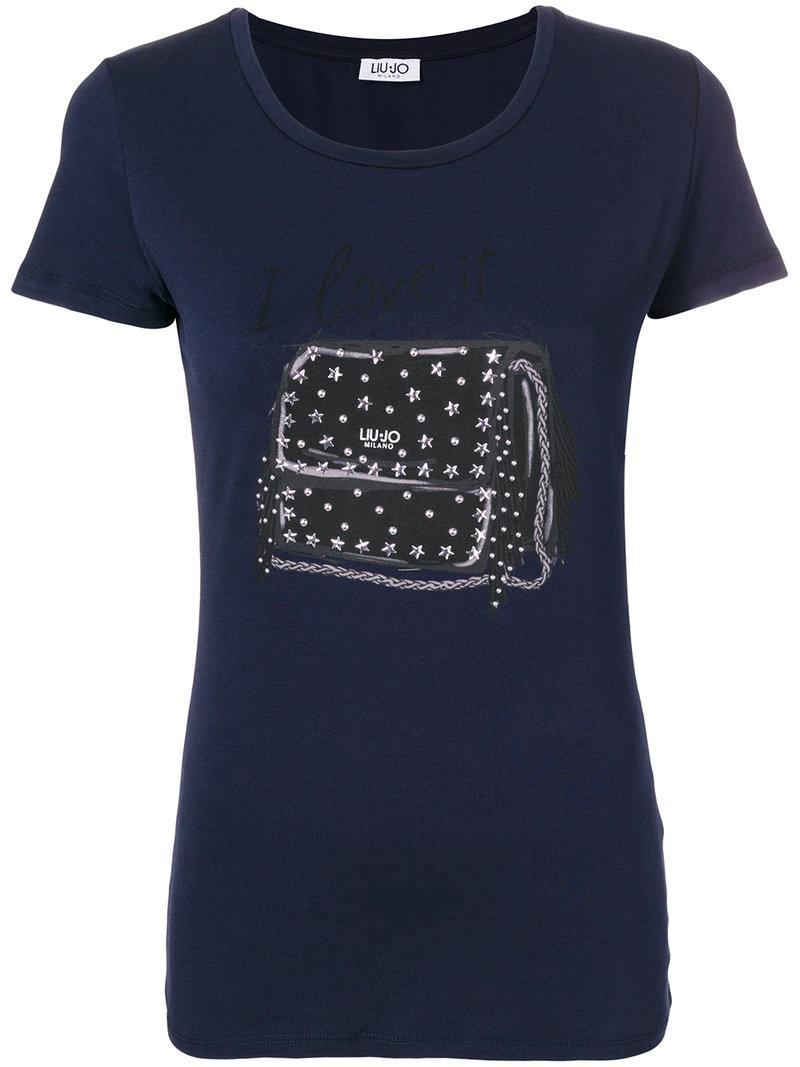 embellished bag print T-shirt - Blue Liu Jo Exclusive Cheap Price Outlet For Sale 8duLmAt2VW