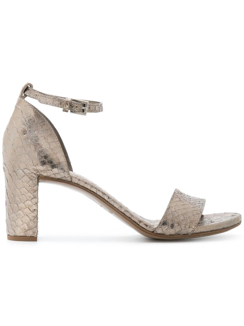 ROBERTO DEL CARLO Snakeskin effect crossover sandals