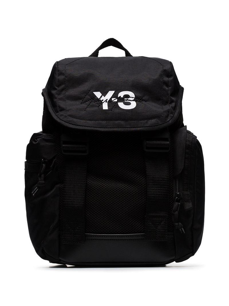 534e77467f Lyst - Y-3 Black Mobility Logo Print Backpack in Black for Men