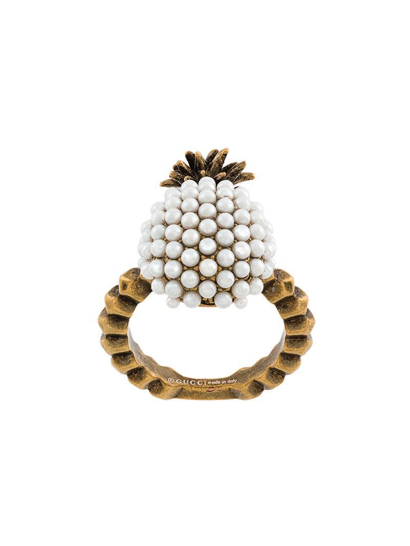 Perlas De Imitación Embellecido Anillo De Piña - Gucci Metálico BG5s5u