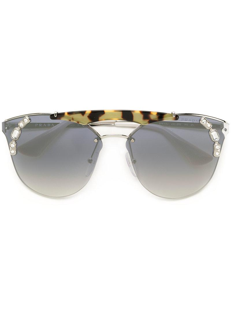 c3d87eac355e Prada - Metallic Tiger Detail Square Sunglasses - Lyst. View fullscreen