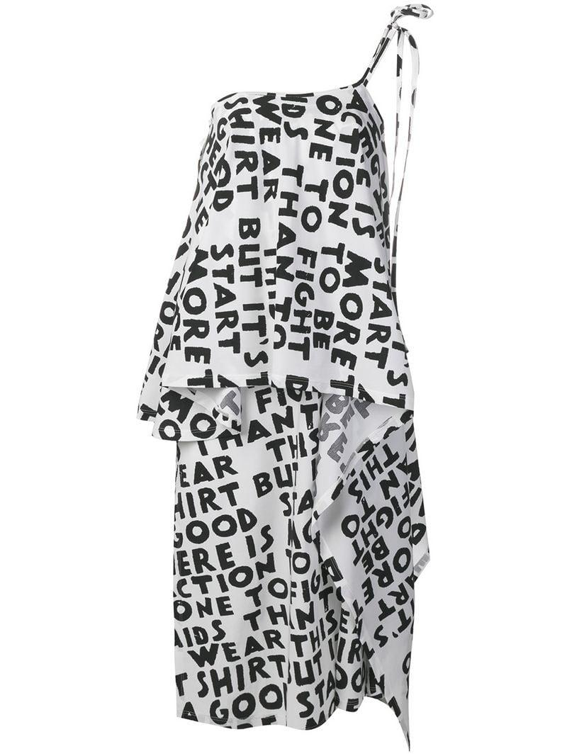 c8f0fc10caf5 MM6 by Maison Martin Margiela One Shoulder Midi Dress in White - Lyst