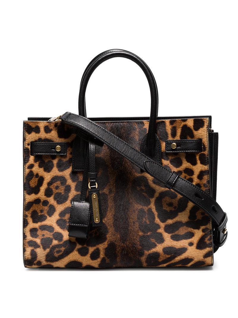867e601b8780e Saint Laurent Leopard Print Sac De Jour Leather Tote in Brown - Save ...