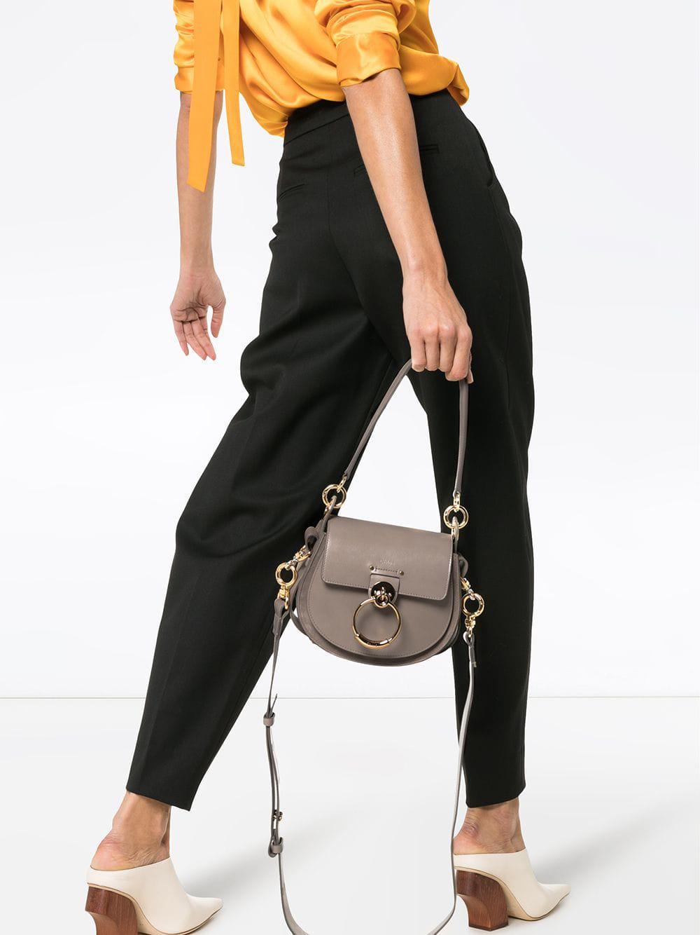 Lyst - Chloé Grey Tess Leather Shoulder Bag in Gray ab33223275