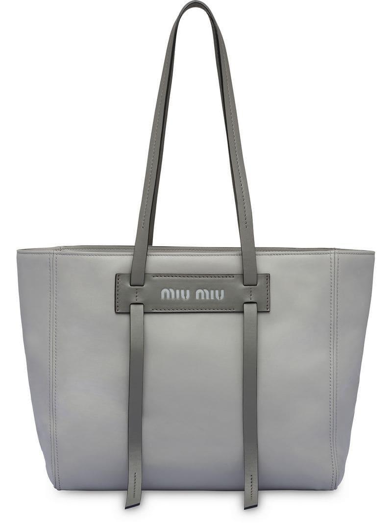 822621e8c1de Miu Miu Grace Lux Leather Tote in Gray - Lyst