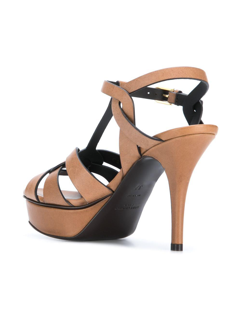 0deb7a7078f Saint Laurent Woven Ankle Strap Sandals in Brown - Lyst