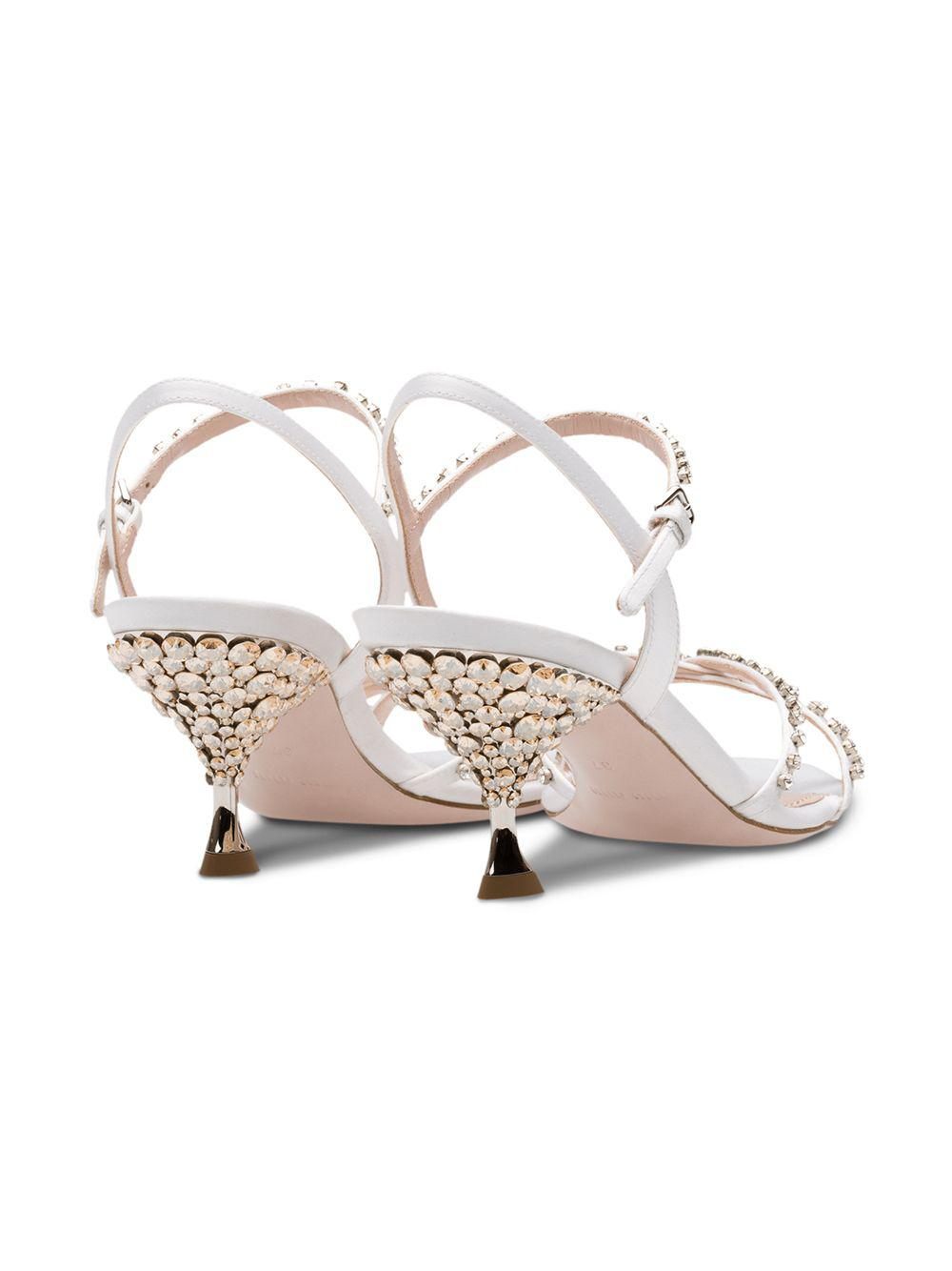 87b15763be7 Lyst - Miu Miu Jewelled Heel Sandals in White