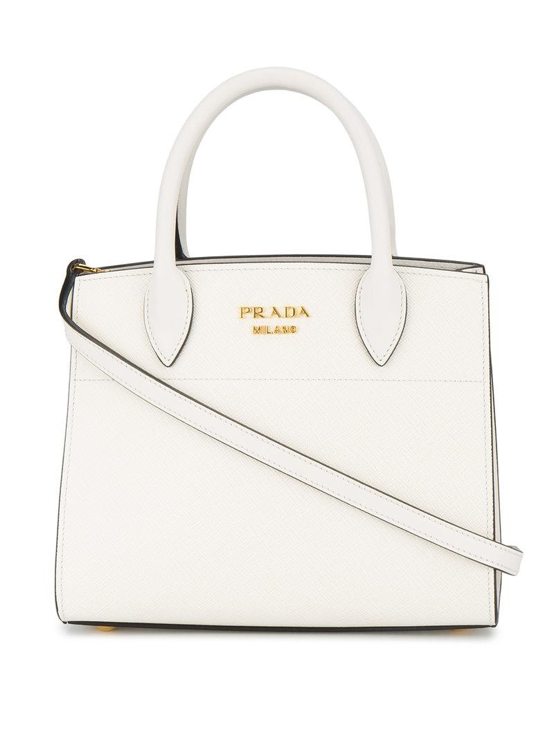 2b4efdbe410e Prada - White Biliotheque Small Tote Bag - Lyst. View fullscreen