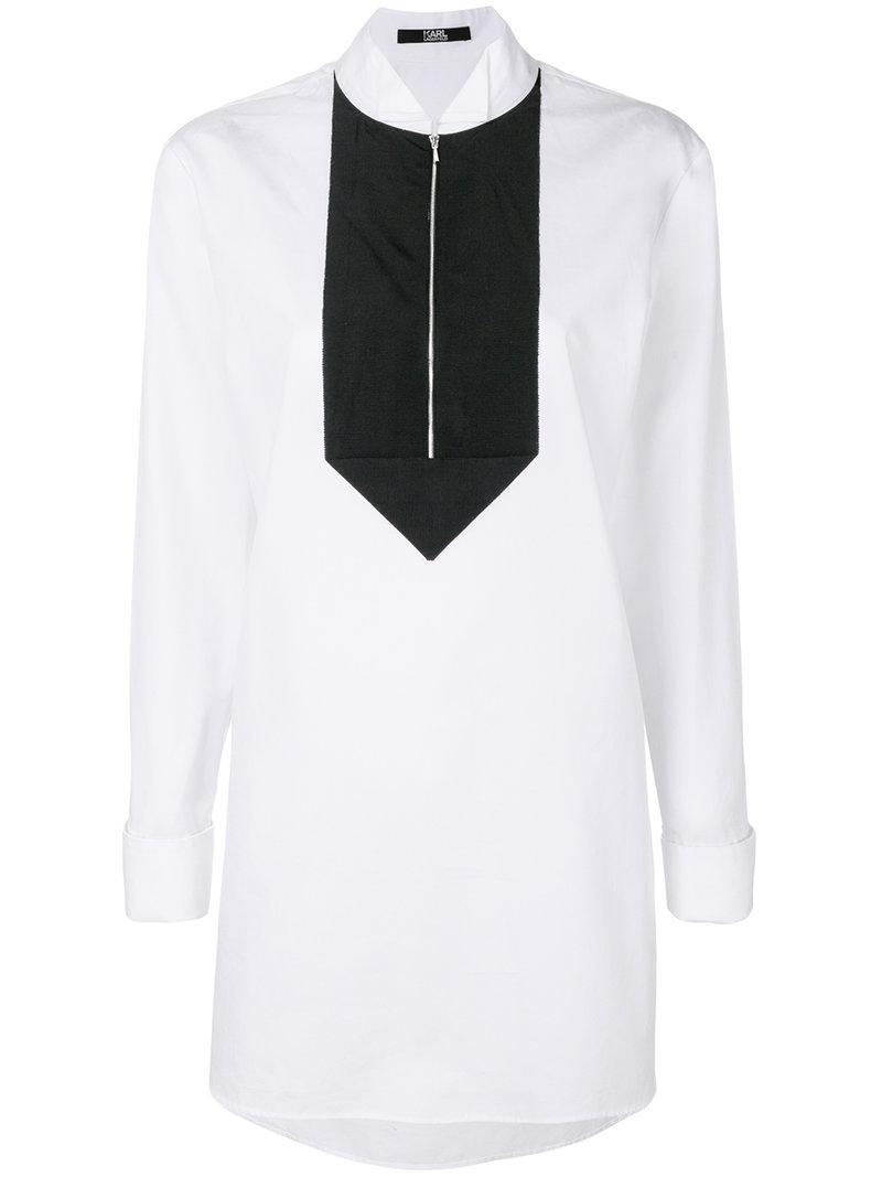 7205b15818b Longue Lagerfeld blanc lyst tunique en Karl T5HAdqwT