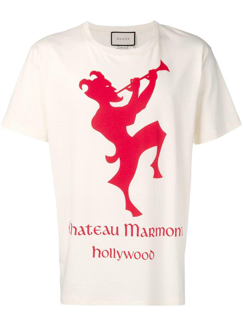 c92c61008 Gucci T-shirt With Chateau Marmont Print for Men - Lyst