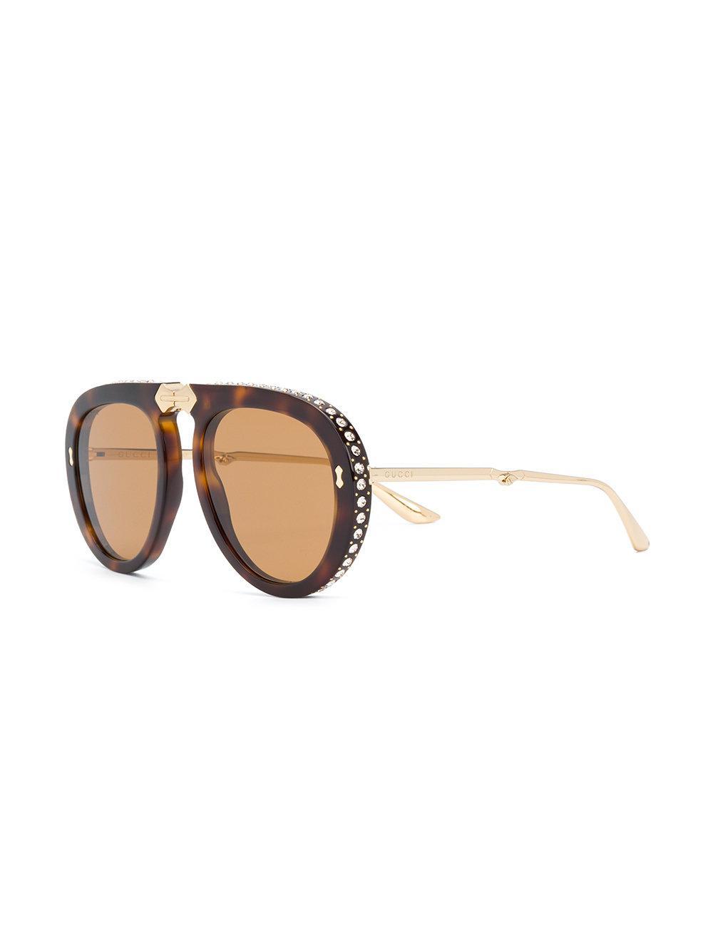 4fde68492e Gucci Aviator Foldable Sunglasses in Brown - Lyst
