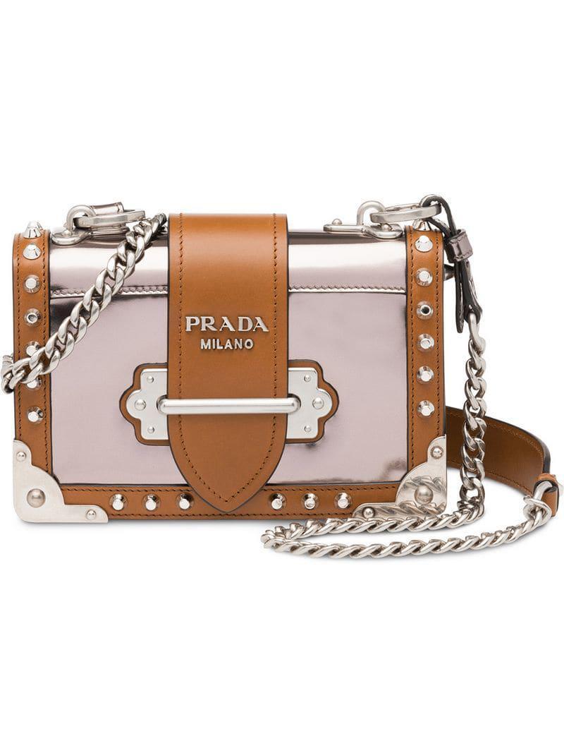 124af3b220395d Prada Cahier Leather Shoulder Bag in Gray - Save 25% - Lyst