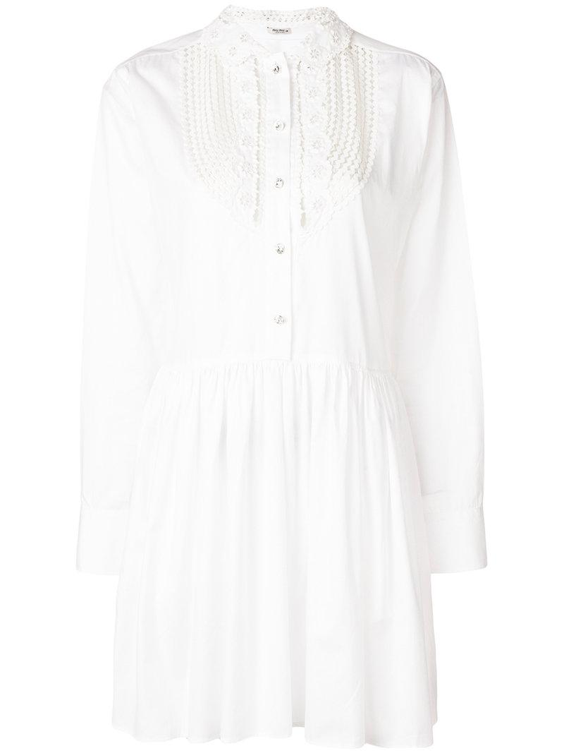 lyst miu miu cut out embellished short dress in white Monique Lhuillier Evening Gowns view fullscreen