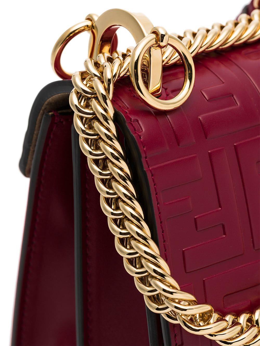 785f9353e7d6 Fendi - Red Kan I Small Logo-embossed Leather Shoulder Bag - Lyst. View  fullscreen