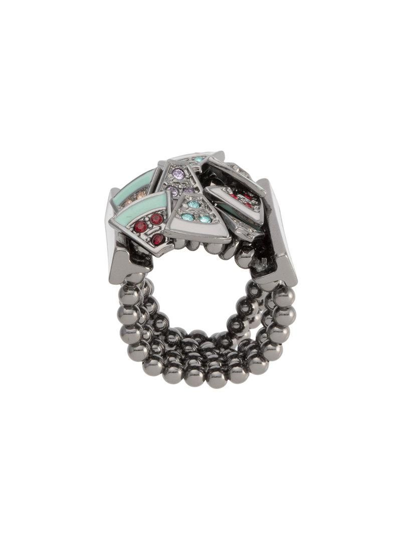 Camila Klein enamel ring - Metallic