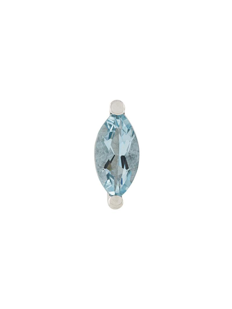 Delfina Delettrez 18kt white gold Dots Solitaire aquamarine and diamond earrings - Blue