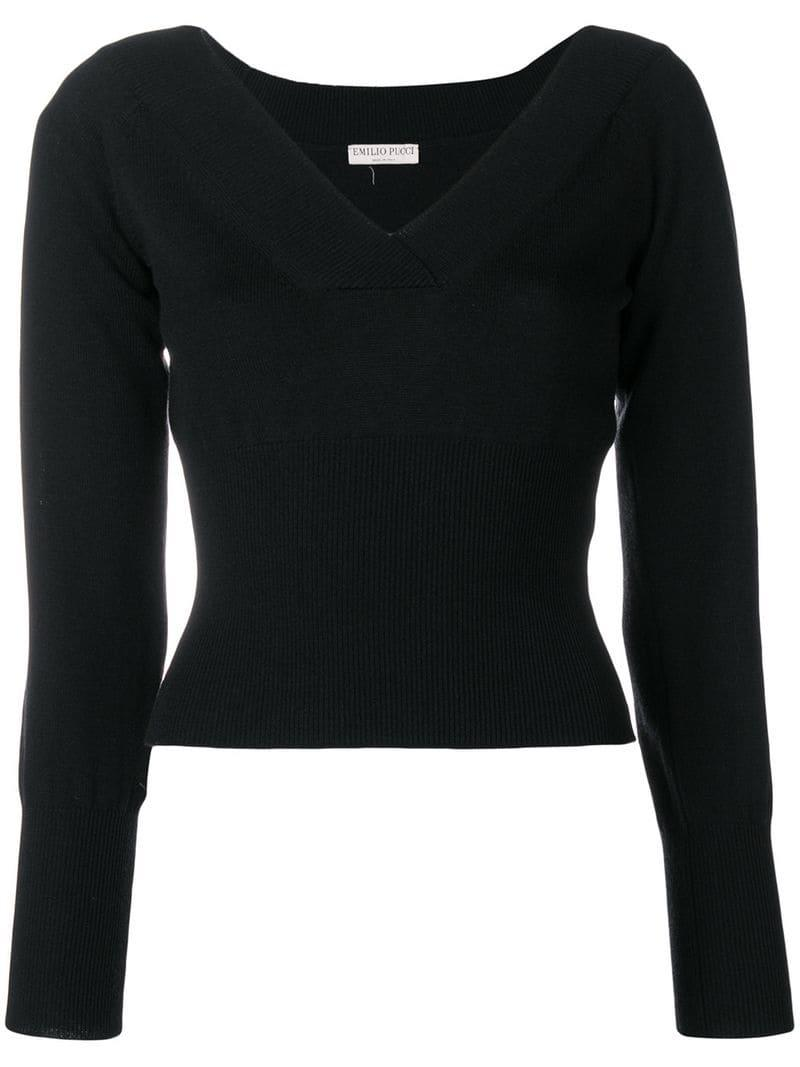 313ad454351a Emilio Pucci Wide V-neck Knit Top in Black - Lyst