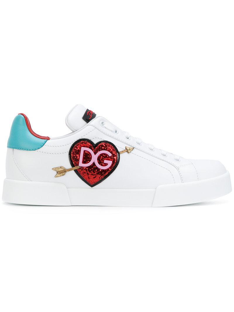 adbb82d090a2 Dolce   Gabbana Appliqué Logo Heart Sneakers in White - Lyst