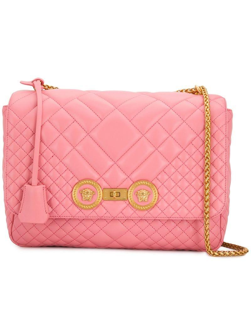 ae1f8b0882 Lyst - Versace Icon Quilted Shoulder Bag in Pink