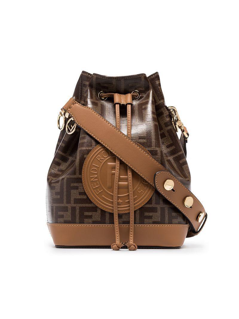 Lyst - Fendi Tobacco Brown Montresor Large Branding Stamp Bucket Bag ... 04db3875b48af