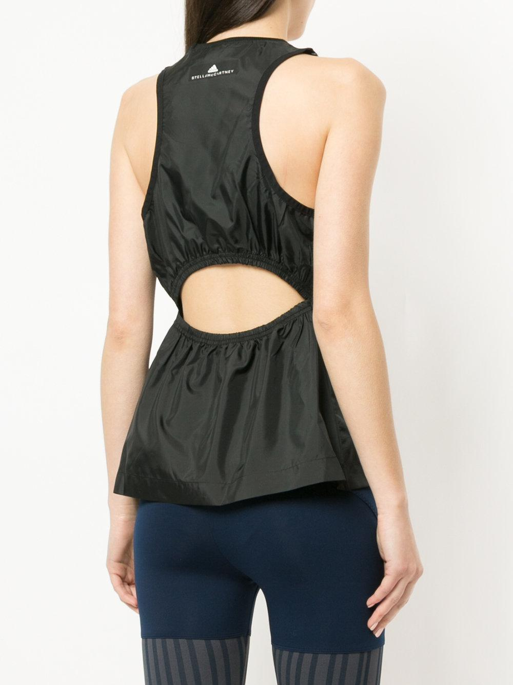 Adidas By Stella McCartney - Black Cut Out Racerback Tank Top - Lyst. View  fullscreen 17c3db808