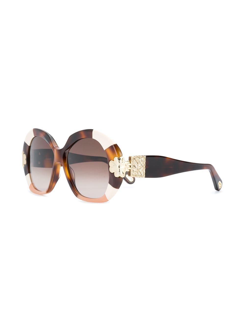 0b3a57b7647 Chloé - Brown Tortoiseshell Oversized Sunglasses - Lyst. View fullscreen