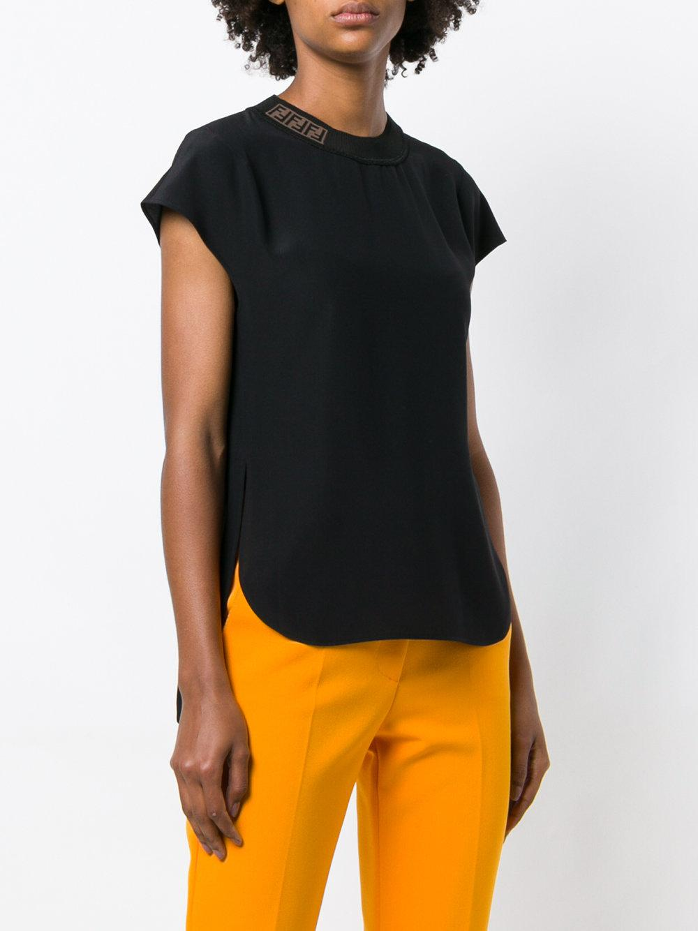 logo cap sleeve high low tee - Black Fendi Shop Offer Cheap Online Manchester Great Sale For Sale Perfect Sale Online Recommend Discount ADtBhIv