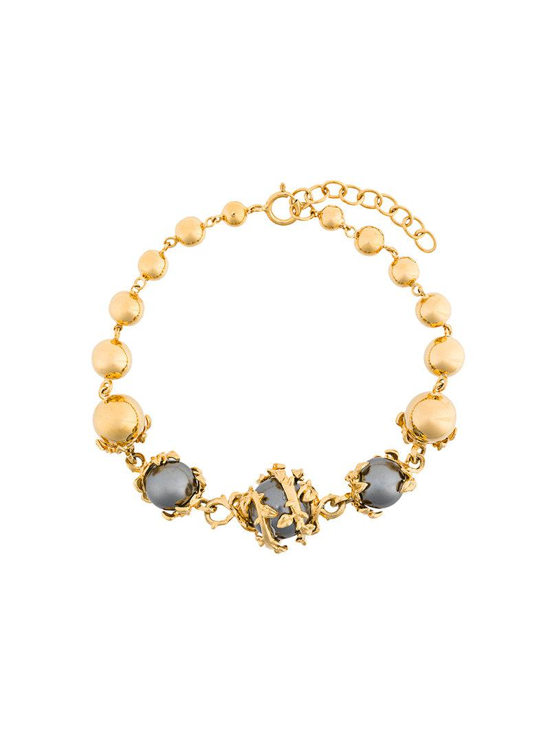 Kasun London Orb & 3 pearls necklace - Metallic ISQOS5ODv