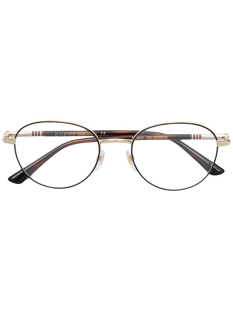 735109b694 Gucci Round Glasses in Black for Men - Lyst