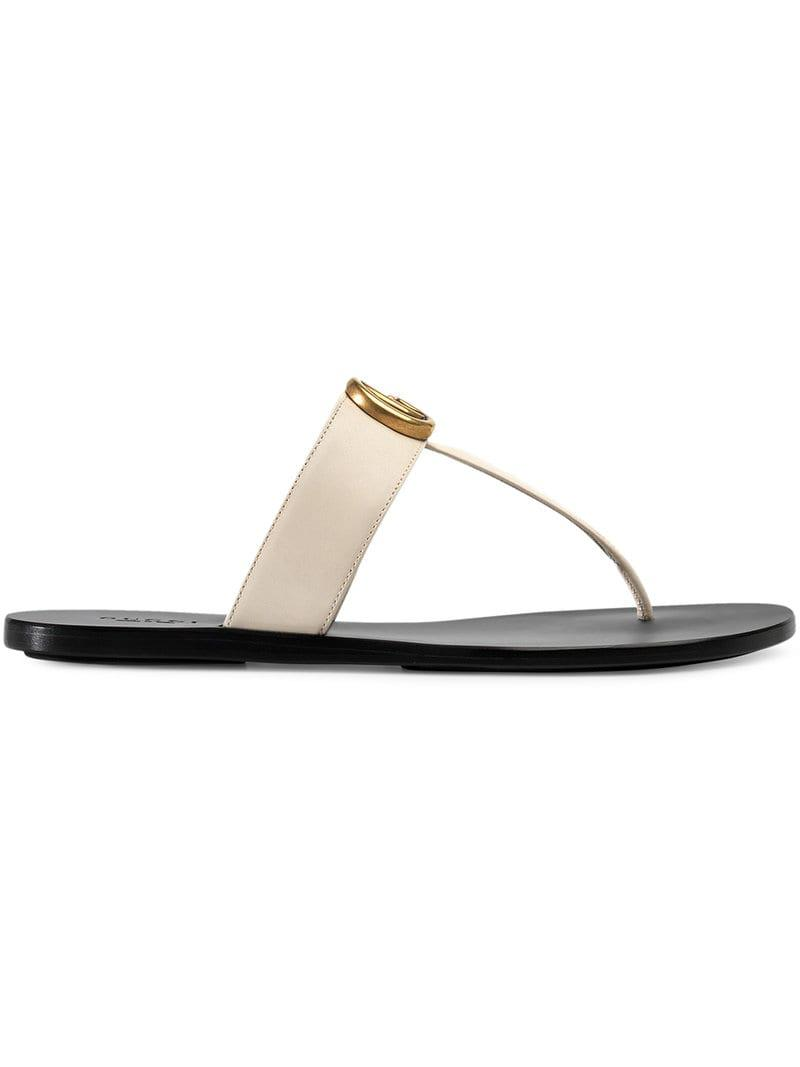 72421f73111676 Gucci Leather Thong Sandal With Double G in White - Save 10% - Lyst