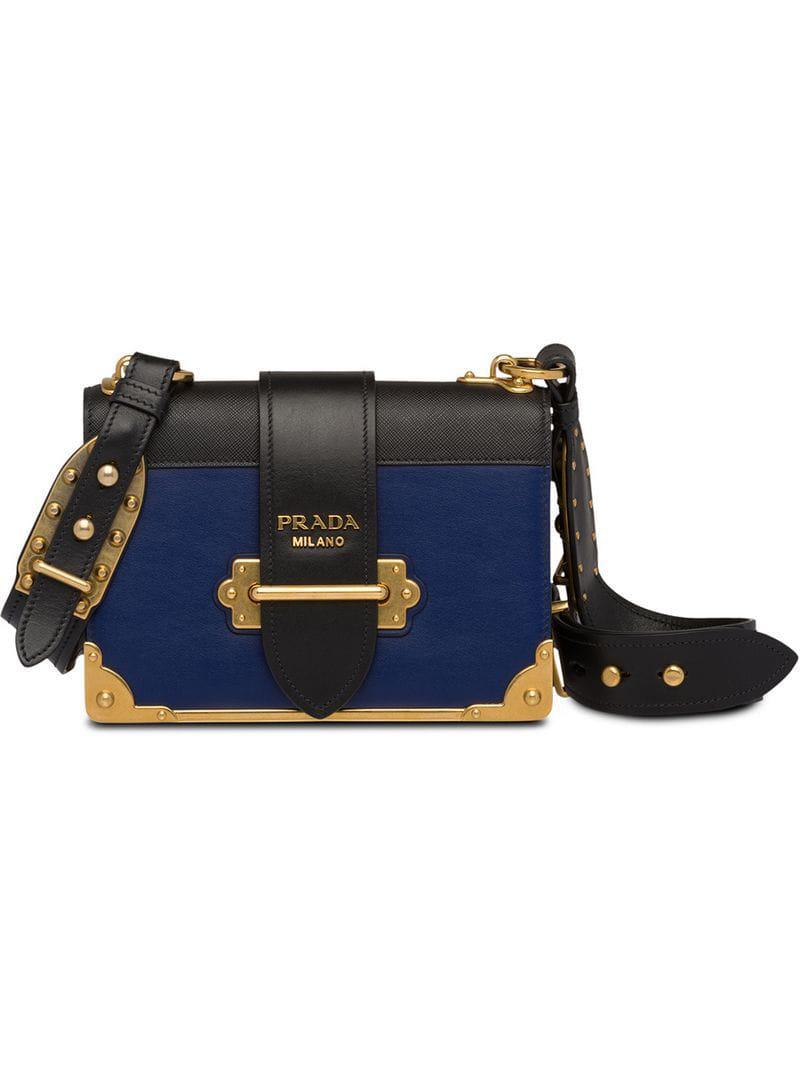 440175357520 Prada Cahier Leather Shoulder Bag in Blue - Lyst