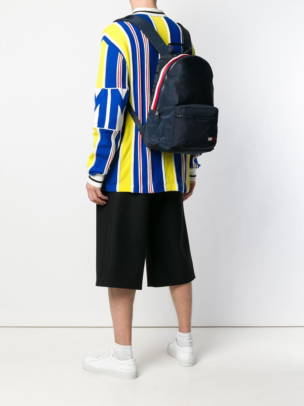 5f4f59b9660 Tommy Hilfiger - Blue Colour-blocked Dome Backpack for Men - Lyst. View  fullscreen