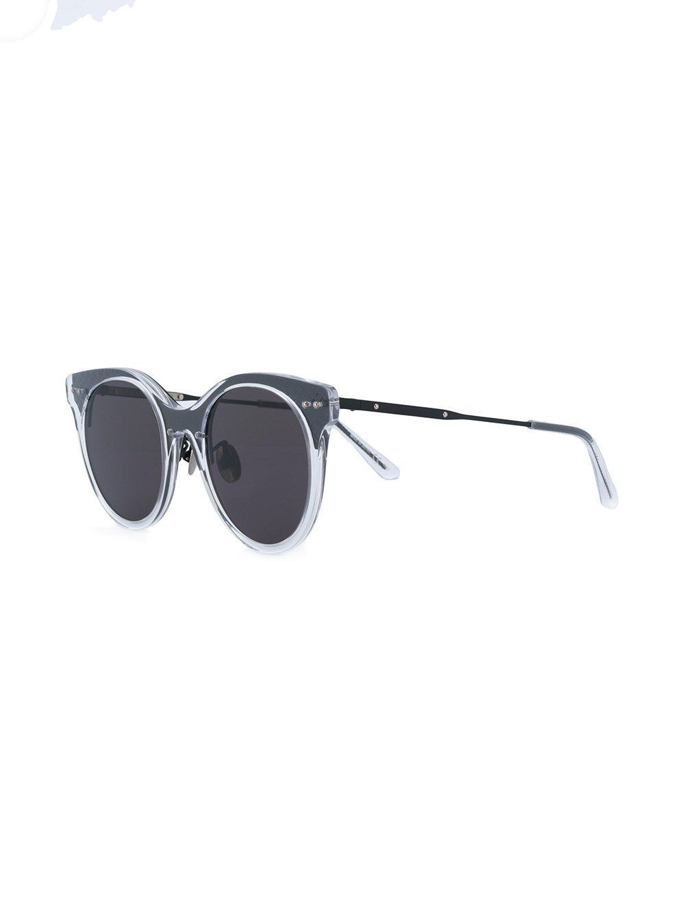 526d4c3c4e5 Bottega Veneta Translucent Circle Sunglasses in Black - Lyst