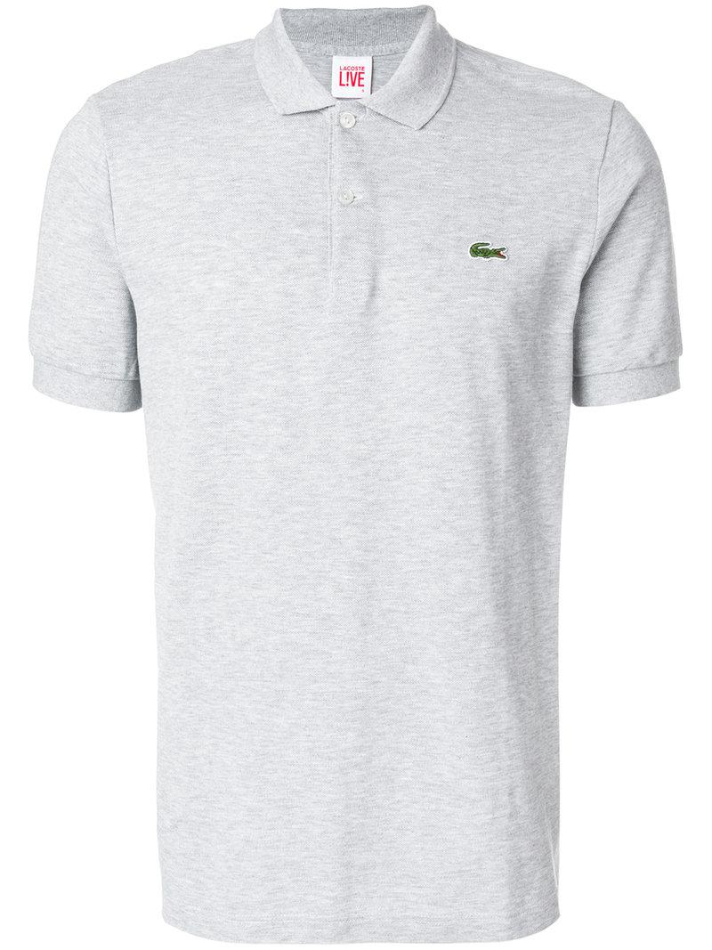 80387fc1b0ca8 Lacoste L!Ive Logo Patch Polo Shirt in Gray for Men - Lyst