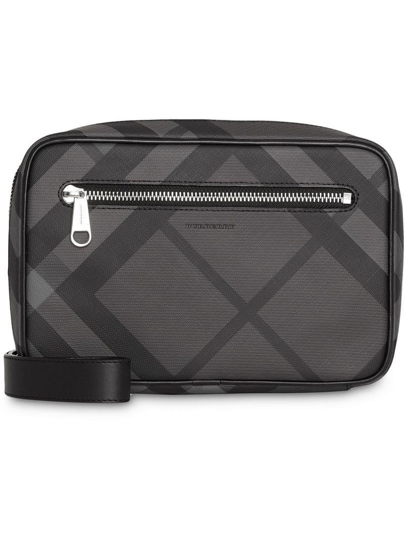 b25347c52a1d Lyst - Burberry London Check Travel Pouch in Gray for Men