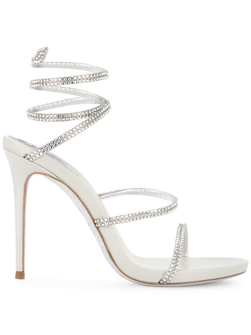 1c3d8f8bf2f0 Rene Caovilla Ankle Strap Sandals in Metallic - Lyst