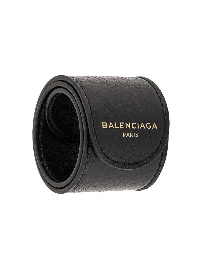 efdc9dcb9b82c Lyst - Balenciaga Logo Print Bracelet in Black for Men