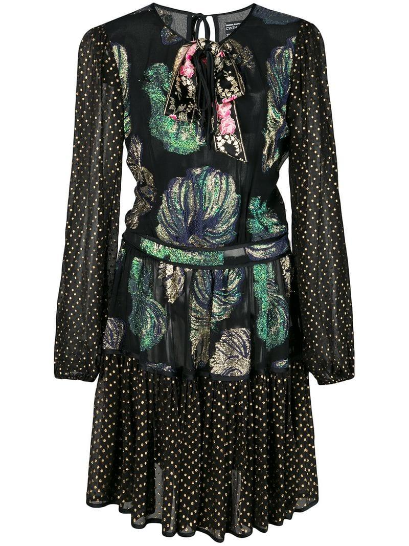 7f77fa148d Lyst - Cynthia Rowley Inverness Fish Bell Sleeve Dress in Black