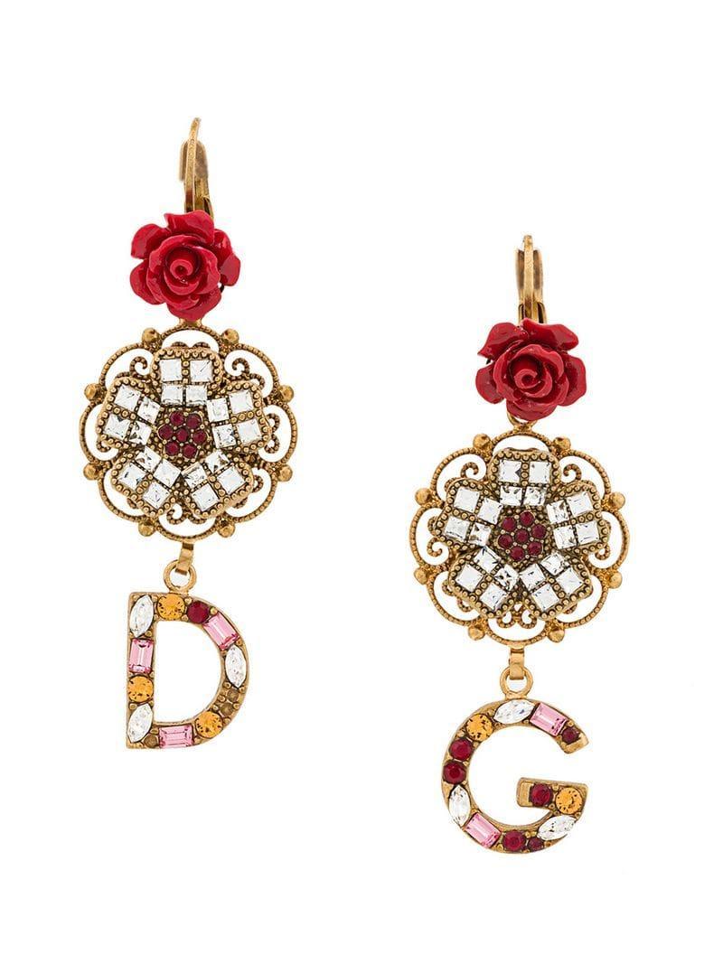 0cf5f419959a Dolce   Gabbana - Multicolor Pendientes con colgante del logo - Lyst. Ver  en pantalla completa
