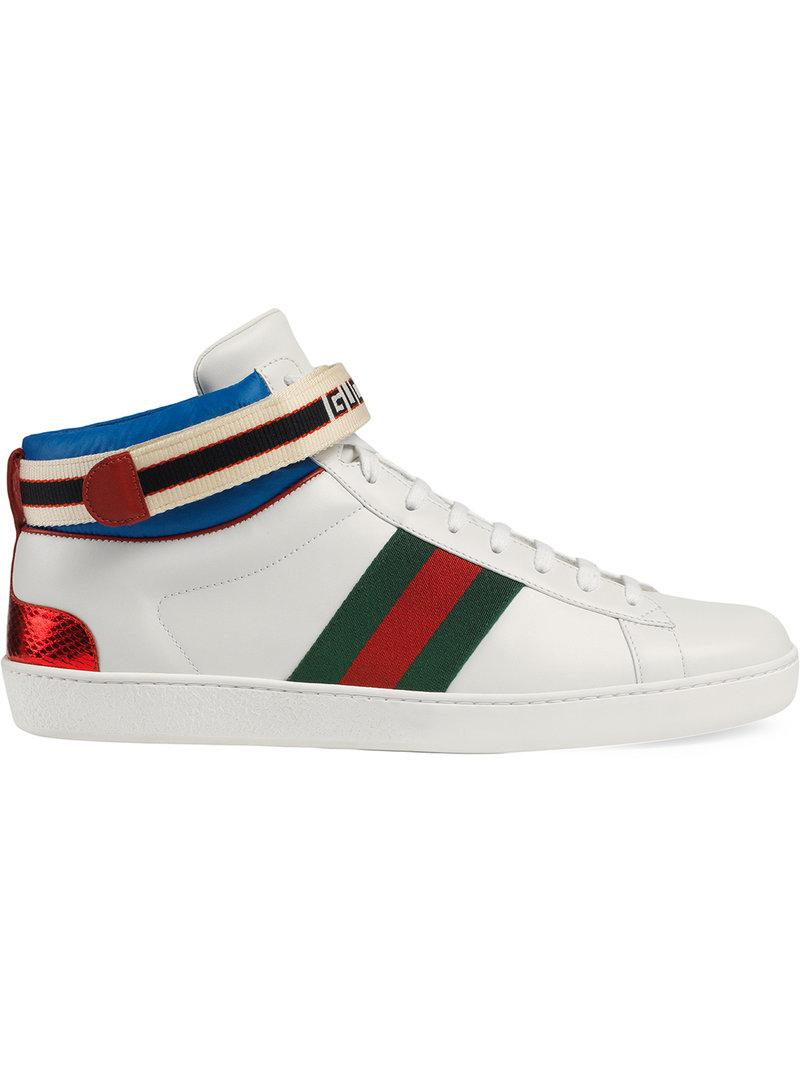 2acbadb9b6c Lyst - Gucci Stripe Ace High-top Sneaker in White for Men - Save 8%
