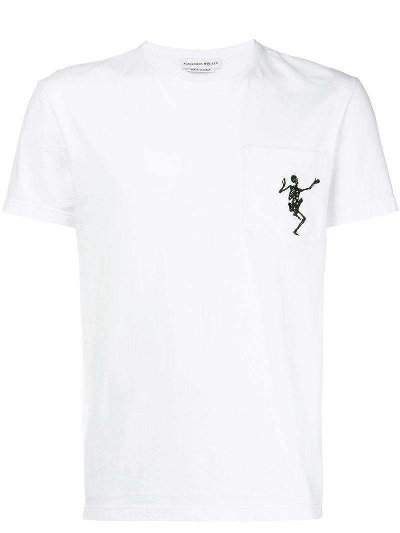 911db36f Lyst - Alexander Mcqueen Embroidered Skull T-shirt in White for Men