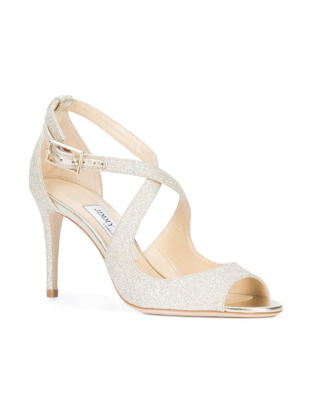 16b95c308878 Jimmy Choo Emily 85 Sandals in Metallic - Save 14.94845360824742% - Lyst